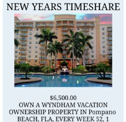 New Years Deeded Timeshare Week 52 Wyndham Palm- Aire! Great